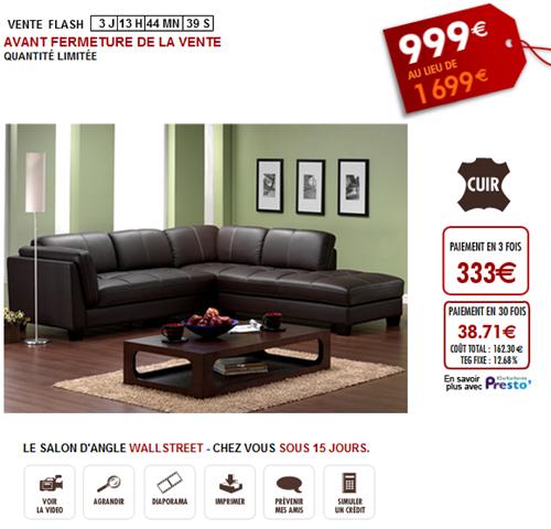 Vente unique vente flash canap cuir wallstreet 40 sur vente - Reduction vente unique com ...