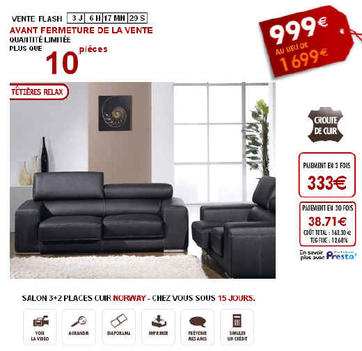 Ventes flash salon canap cuir 3 2 places norway sur vente iziva - Reduction vente unique ...