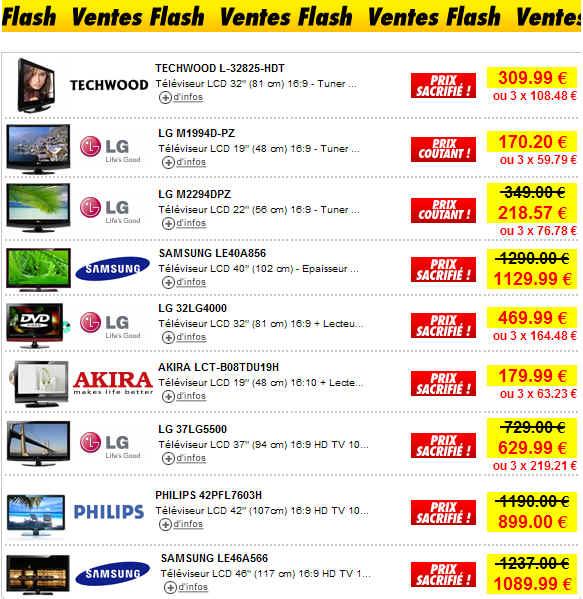 Prix sacrifi s sur les tv lcd et plasma partir de - Discount vente flash ...