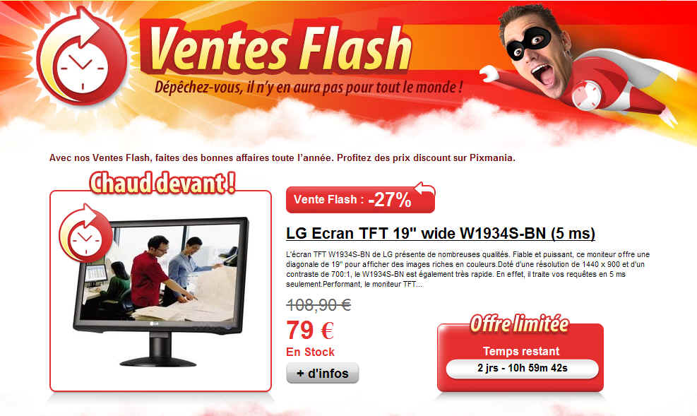 Vente flash lg ecran tft 19 wide w1934s bn chez pixmania - Vente flash electromenager discount ...