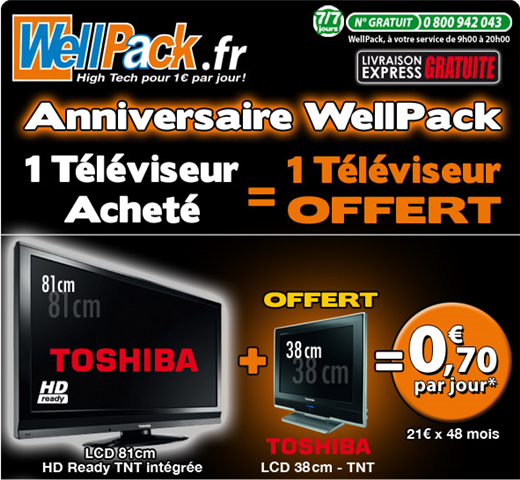 WellPack - 1 TV LCD achetée = 1 TV LCD offerte à partir de 0,70€ par jour sur Wellpack.com